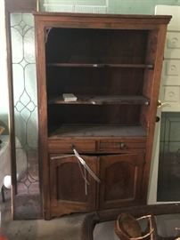 #9vintage wood book case w 2 drawers and 2 doors carve front 39x15.5x72 $175.00
