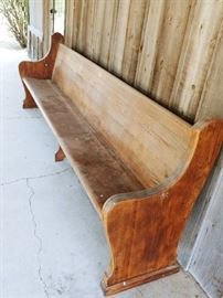 Long antique church pew