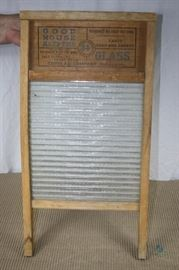 """Cupples Company Good Housekeeping Glass Washboard - Vintage / Glass by National Glass; excellent condition; no visible chips; single-sided glass with """"NATIONAL"""" raised letters; double-sided print; 24"""" tall x 12-1/2"""" wide"""