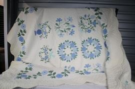 Hand-Stitched Quilt - appears to be Twin-sized / Dated 1962, floral pattern, scalloped edges, blues/greens/light purple on cream