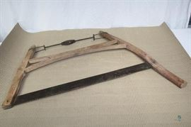 """Antique Bow Saw / ~30"""" blade with iron tensioner by Giant"""