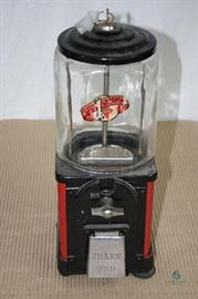 Vintage Metal and Glass Gumball Machine by Victor Vending Corp. / Chicago, IL; Includes two keys; Mechanism appears to work; Glass is in excellent condition; One rubber foot gasket is broken and one rubber foot gasket is missing