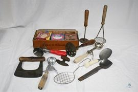 Vintage Kitchen Utensils and Canning Supplies in Wood Box / ~11 Utensils including potato mashers, Ice Cream Scoops and More; Canning Supplies and Vintage Boxes include brands like Bernardin, Ball, Cupples, American and more