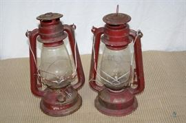 "Pair of Vintage Red Kerosene Lanterns / Fair Condition; ~13"" tall"