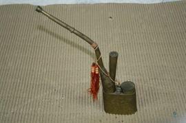 "Antique Chinese Engraved Brass Opium Smoking Pipe / 10"" tall; Dragon Design"