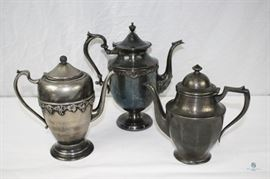 Vintage (3) silverplate coffee pots and tea pot / Centuryware, Richfield and More