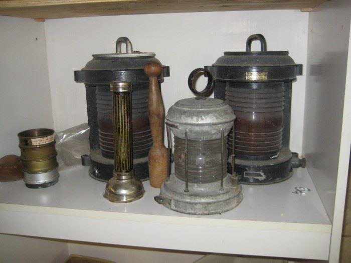 Marine lanterns, vinatage flashlight,
