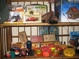Diecat toys, metal lunchbox, pull train, others.