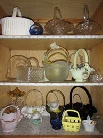 Glass and ceramic basket collection.