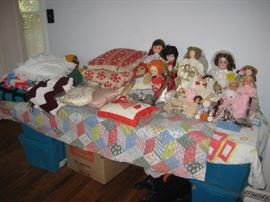 Many dolls including vintage large dolls  (remain available at end of business 8-24-18).