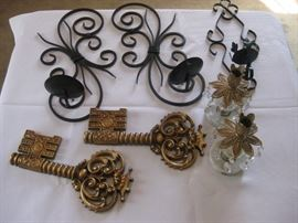 Wall hanging decor and candle sticks / Approx 5 pieces