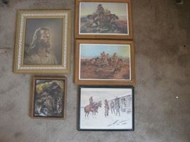 Lot of 3 western prints, more / Approx 5 pieces