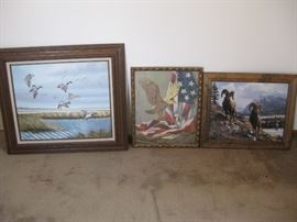 Lot of 3 framed art / Subjects include waterfowl, patriotic eagle, and bighorn sheep
