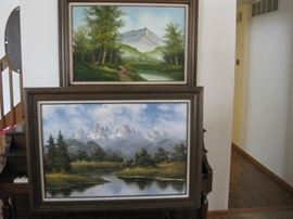 "Two framed landscape paintings / approx. 44"" wide"