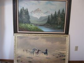 "Two framed paintings: landscape, horses / horses has damage to canvas, approx. 44"" wide"