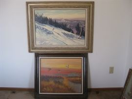 "Two framed paintings: skier, ducks / ducks is approx 30"" wide, skier is approx 36"" wide"