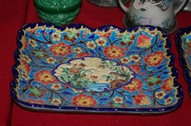 one of a pair of Longwy French faience rectangular trays with birds at center