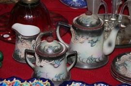 11 piece moriage black dragon tea set