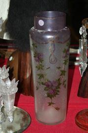 16 inch Mont Joye enameled art glass vase
