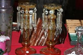 pair bohemian glass candle lustres as found