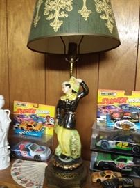 Mid Century figure lamps , NASCAR items