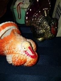 Vintage Thanksgiving items, turkey, pilgrim , pumpkin