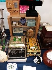 Jewelry boxes, music boxes, vintage tins, vases