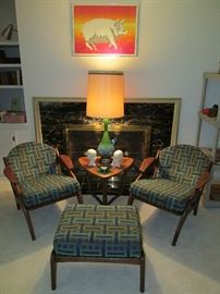 Mid-century chairs, ottoman, side table and lamp