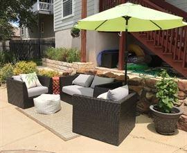 Sofa $85. Chairs $60 each. Umbrella $80. Rug $50