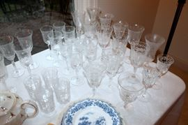 Various patterns of cut / etched stemware by Heisey, Fostoria, Tiffin, and more! (some of these items have sold)