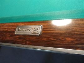 Brunswick 9 foot pool table. King Crown. Great retro flair. 3 piece slate