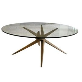 """Adrian Pearsall Walnut and Glass """"Jacks"""" Cocktail Table"""