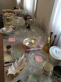 table full of glass ware.