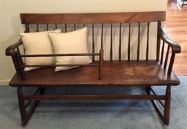 Mammy's bench, 4 feet long circa 1830s from Alabama, baby gate removes. Back slats are chestnut, seat is pine.