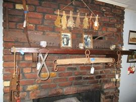 Antique Farm Implements - 5' Two Man Cross Cut Saw, Plow Yoke, Mule Bit, Ice Tongs, Ice Skates, Sickle and Chop/Cut Saw