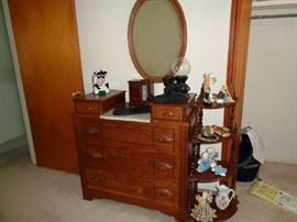ANTIQUE DRESSER WITH MARBLE, CORNER CABINET