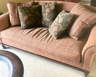 Henridon Sofa Couch W/ Wood Trim & Spindle Legs