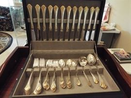 "Lunt ""Golden Regency Shell"" Sterling Silver flatware, service for 12 plus 7 serving pieces and box"