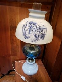 Beautiful milk glass lamp