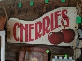 Wood cherry sign