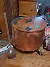 Old copper washing machine. Was used as end table