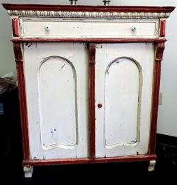 ANTIQUE PAINTED CABINET WITH RED TRIM