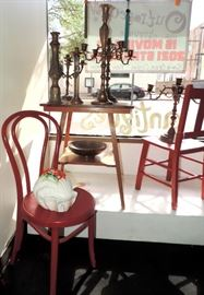 OAK TABLE, RED WOODEN CHAIRS & BRASS CANDLESTICKS