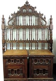 ELABORATE CARVED TWIN BED HEADBOARD AND PAIR OF NIGHT STANDS
