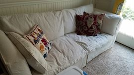 Overstuffed Modern Down Filled Contemporary sofa- could be in a Modern home or a Shabby Chic home. Decorator Pillows