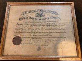 Theodore Roosevelt appoints  postmaster of Portland Michigan 1903 signed by teddy Roosevelt