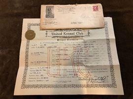 1922 United kennel club ,  Pedegree certificate