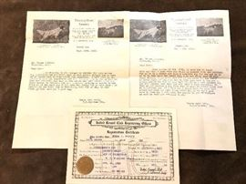 1922 united  kennel club register and letters from thorough bred kennels .