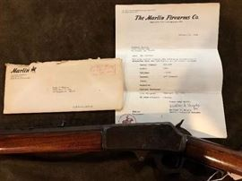 Model 1893 marlin 32/40 serial nuModel 1893 marlin 32/40 serial number 239, 166  26 inch Octagon barrel.  With letter from Marlin firearms company , stating date shipped February 18, 1902 smokeless steel .