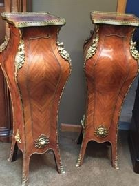 Tall  Rosewood Pedestals with Attached Ormolu